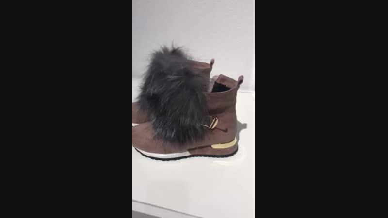 ботинки мех чернобурка