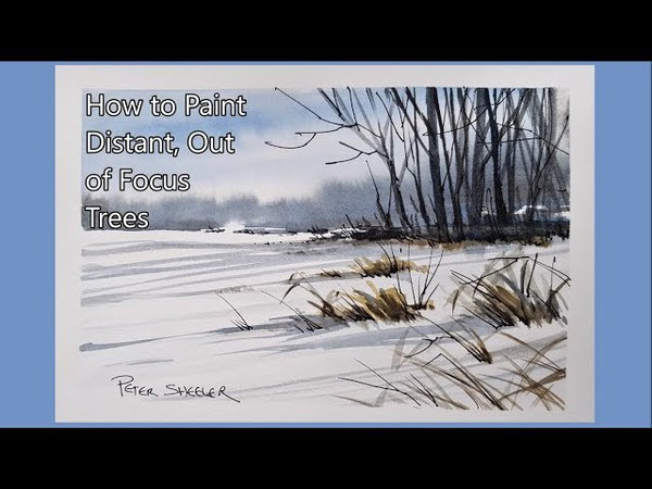 How to paint Distant, Out of FocusTrees in Watercolor. Simple Technique. Peter Sheeler