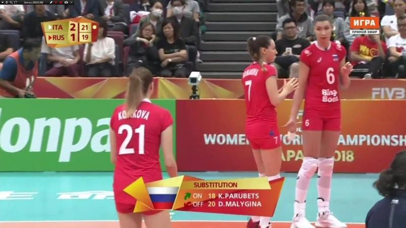 Чемпионат мира. Женщины. Групповой этап. 2-й раунд. Россия уступила Италии со счетом 1:3 1