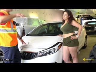 Samantha rose gets fucked balls deep on the floor of her mechanics garage