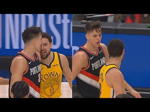 Klay Thompson Gets Angry Trash Talks Zach Collins For Flop! Warriors vs Blazers