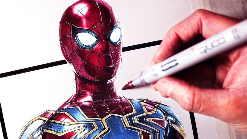 Lets Draw SPIDER-MAN - IRON SPIDER SUIT - FAN ART FRIDAY