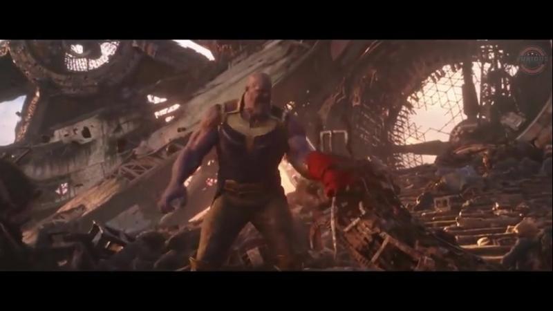 Доктор Стрэндж, Плащ Левитации и Человек-Паук сражаются с Таносом.
