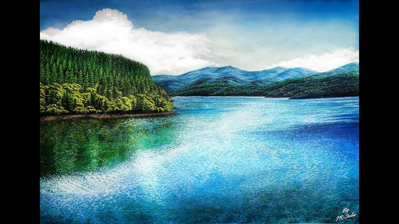 Speed Painting a landscape, watercolor and gouache Рисуем пейзаж, акварель и гуашь