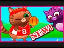 Cartoon game for children Kotik Bubu play football, basketball, go for a drive