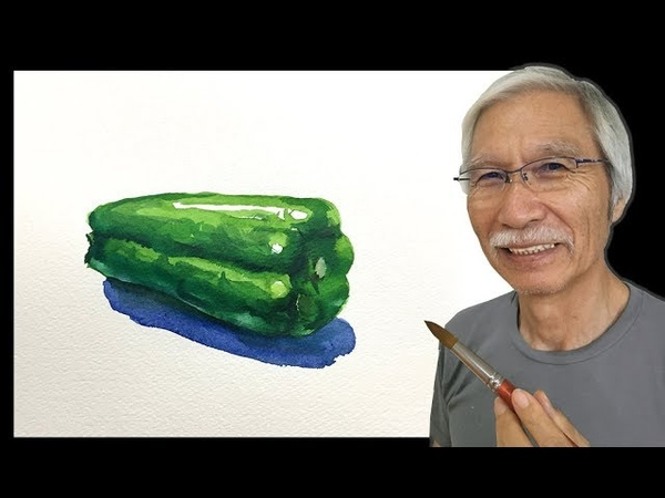 水彩画の基本〜ピーマンを美味しそうに描くコツ How to draw a Green pepper | Watercolor Tips