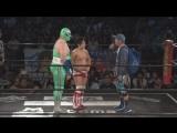 Super Sasadango Machine, Makoto Oishi, Nobuhiro Shimatani vs. Sanshiro Takagi (DDT - Fighting Beer Garden 2018 ~ DDT Day)