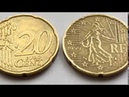 Rare 20 Euro Cent Coin 1999 France and 2002 Italy Macro Video Редкие Монеты Rara moneda