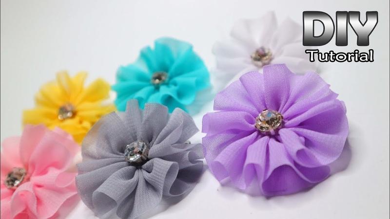 DIY Ruffle Flower for Beginner from Chiffon Fabric Very Fast Bunga dari Kain Siffon