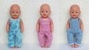 Как сшить джинсы с грудкой, комбинезон для куклы Беби Бон. Jeans for dolls