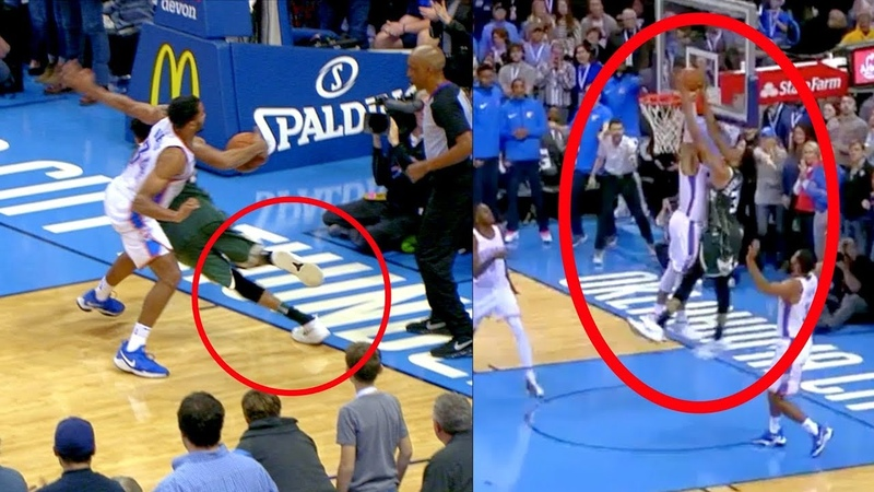 Giannis Game Winner | Dunk On Westbrook | But Appears to Step Out of Bounds (Random Moments Week 1)