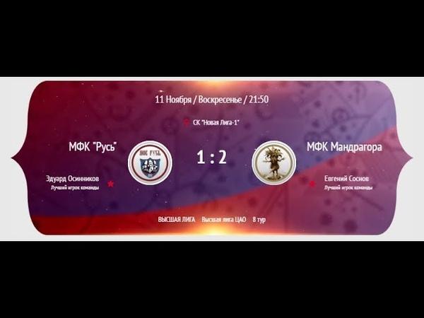 НМФЛ 2018 19 Высшая лига ЦАО Русь Мандрагора 1 й тайм