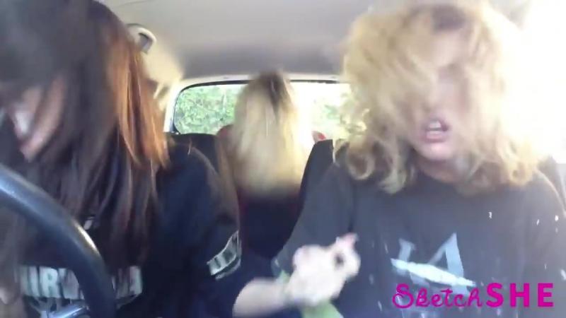 3 девушки поют в машине 2015 _ 3 model girls singing in a car 2015 _ Mime Throug
