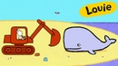 Louie, draw me a digger | Learn to draw cartoon for kids