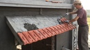 Building Slope Roof Concrete - Install Terracotta Tiles On Roof Small Slope, Construction Worker