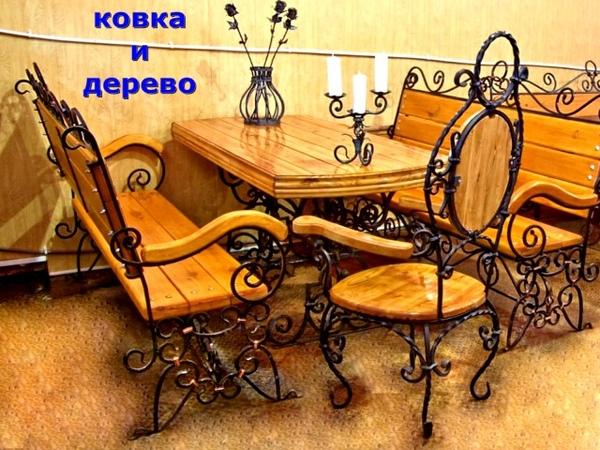 Кованая мебель для кафе бара ресторана стол скамейки лавочки стулья из металла и дерева