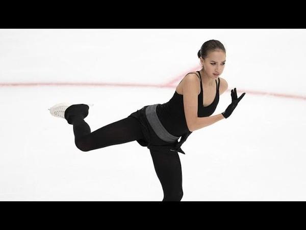 Алина Загитова - прыжки и короткая программа на тренировке перед ЧЕ 2019 в Минске