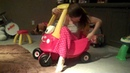 Mom tries to get in babys toy car