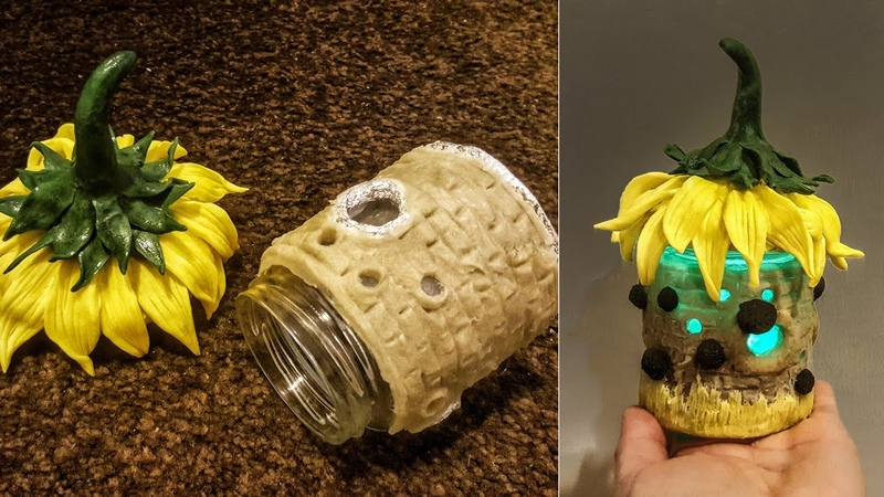 DIY Sunflower Fairy House Jar, works with Homemade Clay (Air Dry)