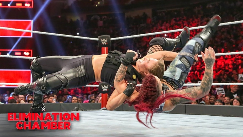 The Jean Ronda Rousey overpowers Ruby Riott WWE Elimination Chamber 2019 WWE Network Exclusive