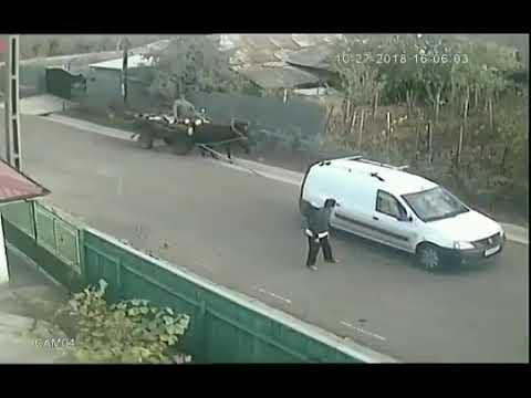 Пьяный мужик на дороге и странный мужик буксирует лошадь с повозкой Видео прикол