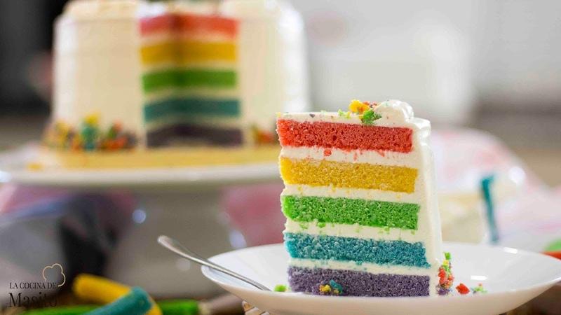 Tarta arco iris o rainbow cake Mas fácil de lo que crees ¡COMPRUEBALO!