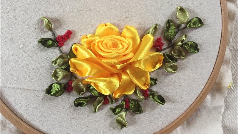 D.I.Y Ribbon Embroidery Rose / Hướng dẫn thêu ruy băng hoa hồng vàng