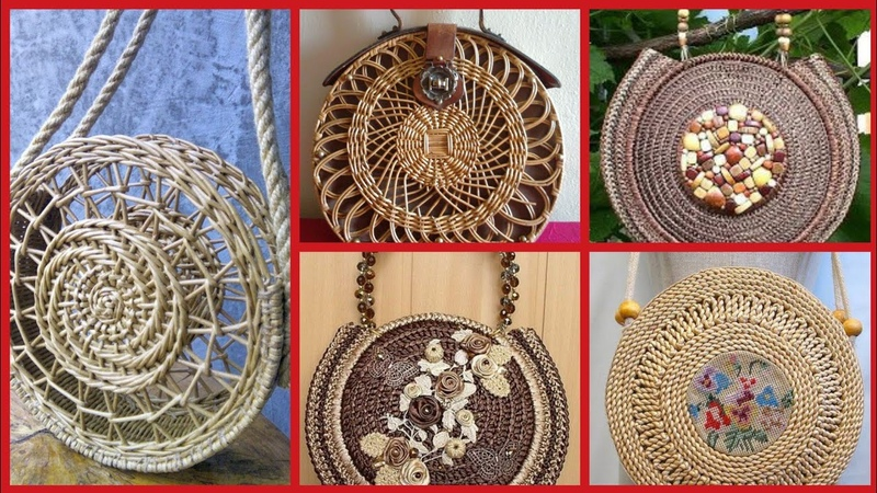 Gorgeous open work round basket and wicker round bags French baskets styles
