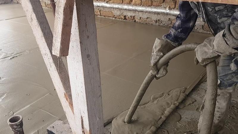 Механизированная стяжка пола из ячеистого бетона