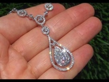 ONE OF A KIND 3.52 Carat Diamond Cocktail Necklace Solid 14K Gold