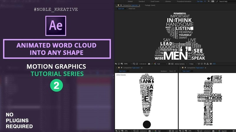 Create an Animated Word Cloud into any shape in After Effects | Easy