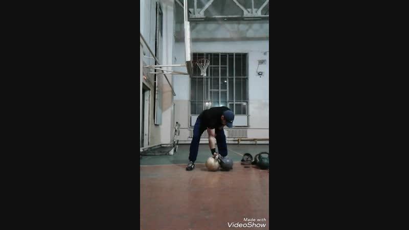 Взятие вырыванием в стойку и толчок двойной гири 66 kg (5016) одной рукой