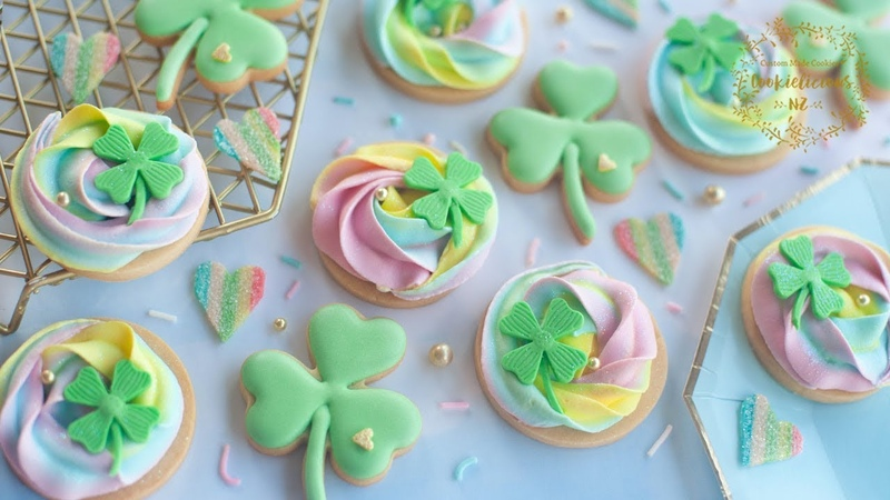 RAINBOW SWIRLS ICING TECHNIQUE CLOVER COOKIES ~ for St Patrick's Day
