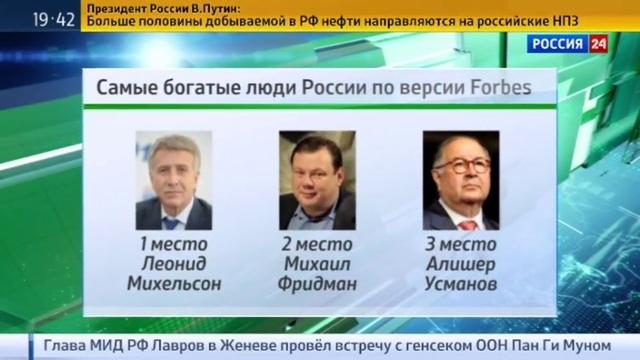 Новости на Россия 24 • Forbes назвал самого богатого человека России им впервые стал Леонид Михельсон