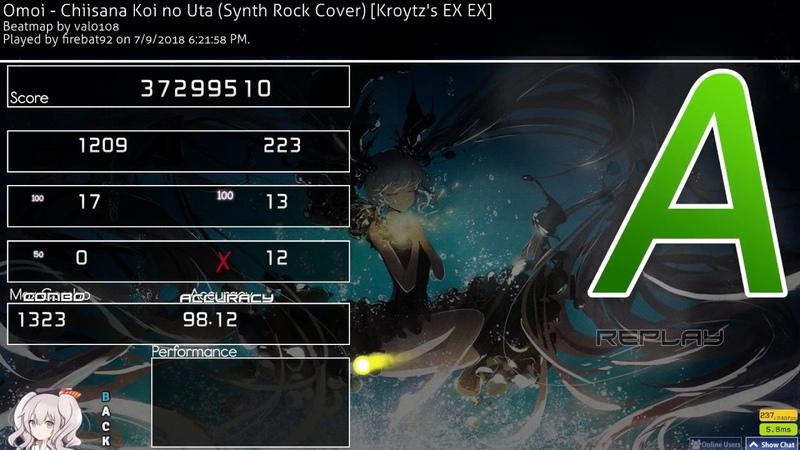 Osu!   firebat92   Omoi - Chiisana Koi no Uta (Synth Rock) [Kroytz EX EX] 98.12% 356pp 1323x 12❌ 1