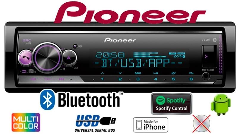 Pioneer MVH-S510BT обзор основных функций, подключение Android, Bluetooth