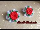 МК / Резиночка для волос с красной розой / Канзаши