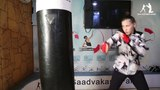 Work on a punching bag. Boxing. High-Speed Simulator Evnik - The Best Hook.