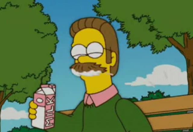 Milk on Mustache Flanders