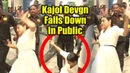 OMG ! Kajol Devgn Falls Down In Public At Health Glow Store | Viralbollywood