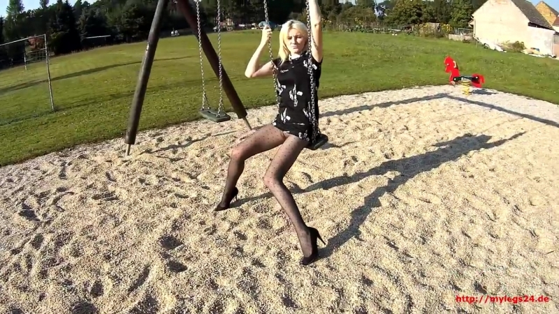 Playground Fun in Pantyhose - Photoshoot with Samira
