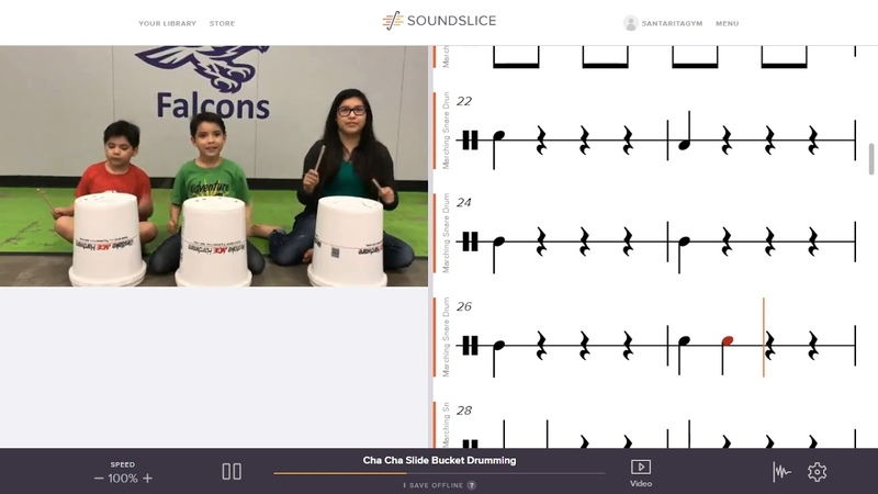 Cha Cha Slide Bucket Drum with Music Notation