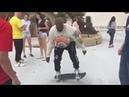 Kanye learns how to skateboard