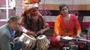 Street performance in Kathmandu, Nepal. Baba's playing madal.