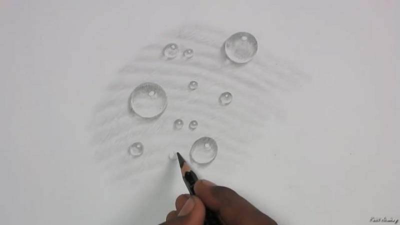 как нарисовать реалистичные капли воды карандашом