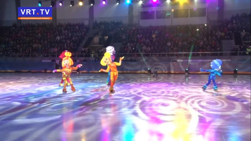 Ирина Слуцкая и Фиксики поздравили с Новым годом наших ребят. Ёлка главы прошла в ледовом дворце спорта «Кристалл».