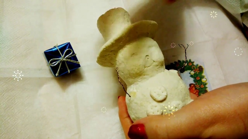Как сделать винтажного снеговика из самодельной массы. 1 часть