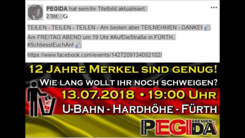 12 Jahre Merkel sind genug.1307.2018 . 19 Uhr.U-Bahn - Hardhöhe Fürth.