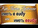 Как правильно писать: иметь в виду или иметь ввиду. Русский без ошибок, правила русского языка.