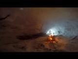 ЛЕСНЫЕ 24 ЧАСА В ГОРАХ НОЧЬ В БЕРЛОГЕ НА СКАЛЕ - Снежное Укрытие - Пятка медведяГоры Снег Бушкрафт